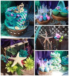Little Mermaid themed birthday party via Kara's Party Ideas KarasPartyIdeas.com Cake, decor, printables, supplies, recipes, etc! #littlemermaid #mermaidparty (2)