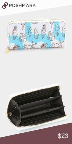 "Sea Shell Print Wallet • Color : Multi • Price firm  • Size : 7.5"" X 4"" X 1"" • Zip around wallet Bags Wallets"