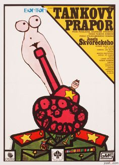 Movie Posters Auction / £0.99 / This TUESDAY 01.11.2016 / Magical Movie Posters from Czechoslovakia for Everyone !! /  THE TANK BATTALION movie poster designed by Vratislav Hlavaty, Czechoslovakia, 1983. #postersale #graphicdesign #Illustration