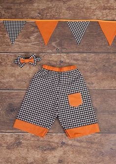 Halloween pumpkin autumn set for boys shorts by homemadeByBZ