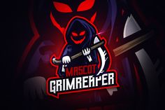 , Greamreaper - Mascot & Esport Logo- Suitable for your personal or squad logo, All elements on this template are editable with adobe illustrator! Graffiti, Game Logo Design, Coreldraw, Cs Go, Modern Logo, Logo Templates, Design Templates, Creative Logo, Cool Logo