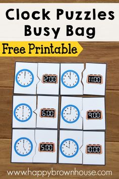 Telling time is an important skill. Help your child learn time to the hour with these FREE Clock Puzzles from Happy Brown House. They can be printed out as Telling Time Activities, Teaching Time, Learning Clock, Kids Learning, Learning Games, Learning Spanish, Free Games For Kids, Math For Kids, Kindergarten Activities