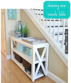 DIY Console Table This website also include plans to make other types of furniture… @ Home Improvement Ideas Types Of Furniture, Furniture Projects, Furniture Plans, Home Furniture, Modern Furniture, Coaster Furniture, Plywood Furniture, Cheap Furniture, Antique Furniture
