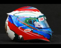 The drivers helmet of Vitaly Petrov of Russia and Caterham is seen during previews to the Australian Formula One Grand Prix at the Albert Park circuit on March 15, 2012 in Melbourne, Australia.