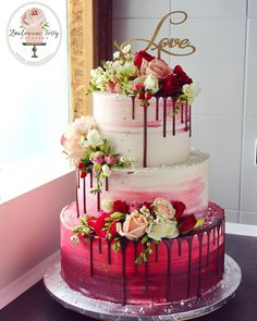 Wedding cake with red ombre❤️… - cake design - Kuchen Wedding Cakes With Cupcakes, Elegant Wedding Cakes, Wedding Cake Designs, Cupcake Cakes, Rustic Wedding, Wedding Cake Red, Fall Wedding, Wedding Cake Flowers, Birthday Cake Designs