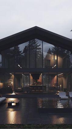 Dream Home Design, Modern House Design, Home Interior Design, Glass House Design, Modern Glass House, Modern Architecture House, Interior Architecture, Casa Loft, Luxury Homes Dream Houses
