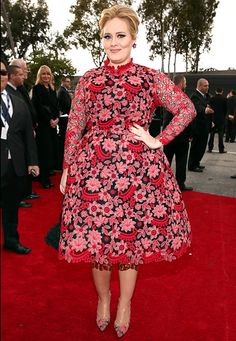 Adele in #Valentino on the Grammys red carpet! She looks DARLING! And in a textured, printed dress like this, you can wear a sassy lace bra underneath - and no one would know. No need to go smooth or boring here. Go glam under that gown! -Linda the Bra Lady
