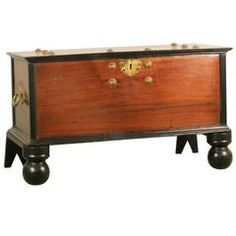 Indo-Dutch Chest Jackfruit and Ebony Chest with Brass Details