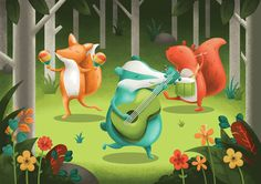 An illustrated GIF for a festival. Illustration of animal characters, a fox, badger and squirrel in a forest playing musical instruments :)