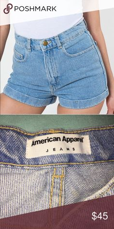 AUTHENTIC AMERICAN APPAREL SHORTS Authentic American apparel light wash high waisted denim shorts. Superb high quality denim with brass button and YKK zipper. Never worn, new. Bought for 65 dollars, selling for 45 bucks. Price negotiable! American Apparel Shorts Jean Shorts