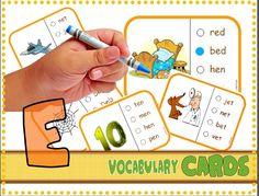 "*FREE* CVC Vocabulary Cards (Short ""E"").  Common Core: RF.K.2d"
