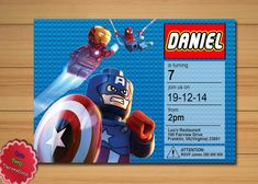DESCRIPTION: This is a listing for a personalized Lego Marvel Super Heros Printable Invitation! All wording can be customized. Your childs
