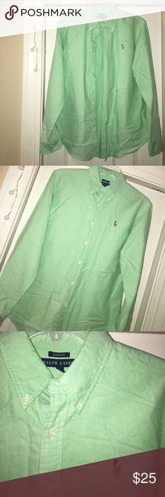 Light Green Ralph Lauren Top This shirt is a classic fit, size 12, Ralph Lauren button up! In perfect condition, it has just been folded up so it is wrinkly! If you have any questions, let me know! Tops Button Down Shirts