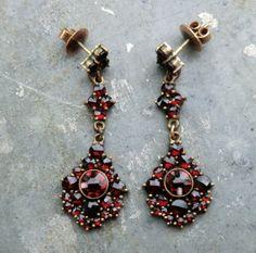 Antique Czech Garnet Dangle Earrings Art Deco Era