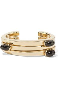 Lisa Eisner - Set Of Three Bronze And Jade Cuffs - one size