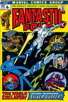 Fantastic Four 123 1972 Silver Surfer Cover VF 8 0 Dc Comics, Marvel Comics Superheroes, Marvel Comic Books, Comic Book Characters, Marvel Heroes, Comic Books Art, Comic Art, Book Art, Fantastic Four Comics