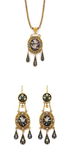 Pair of Antique Gold & Micromosaic Pendant-Earrings & Pendant with Chain
