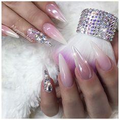 Natural pink ombré almond stiletto nails chrome nail art Swarovski design