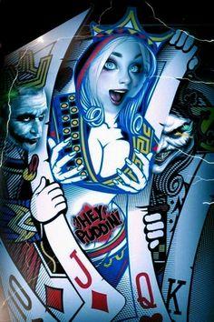 Love the look on her face Harley Quinn Et Le Joker, Harley Quinn Drawing, Art Du Joker, Harley Quenn, Evvi Art, Og Abel Art, Skull Wallpaper, Card Tattoo, Chicano Art