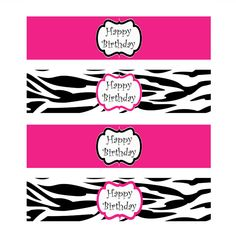free printable water bottle labels Pink and Zebra Templates Free Zebra Birthday, Barbie Birthday Party, Spa Birthday Parties, Barbie Party, Girl Birthday, 10th Birthday, Teen Girl Parties, Girl Spa Party, Monster High