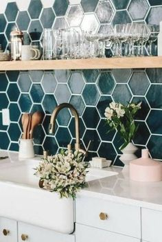 Laundry Room Shelves, Farmhouse Laundry Room, Remodeling Mobile Homes, Home Remodeling, Hexagon Tile Backsplash, Tiles, Kitchen Interior, Kitchen Decor, Single Wide Mobile Homes