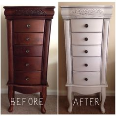 So…for several months one of my girlfriends kept hounding me to take her jewelry stand to repair the leg on it. I agreed figuring one of the legs was just loose or something. Little did I kno… selbstgemacht wenig platz DIY Jewelry Armoire Makeover Armoire Makeover, Jewelry Box Makeover, Furniture Makeover, Armoire Redo, Diy Furniture, Furniture Design, Jewelry Chest, Jewelry Stand, Diy Jewelry Armoire