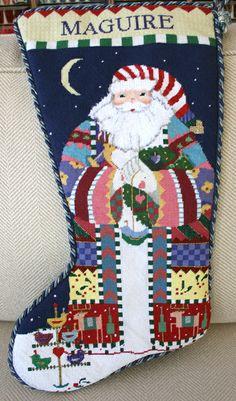 needlepoint finishing service Christmas Holiday, Christmas Ideas, Christmas Crafts, Hannah Stocking, Needlepoint Christmas Stockings, Christmas Stocking Holders, Stitch 2, Needlepoint Canvases, Monograms
