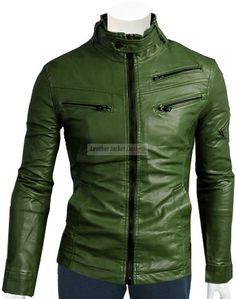 Green Leather Biker Jacket For Men