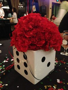 Dice centerpiece for casino theme party