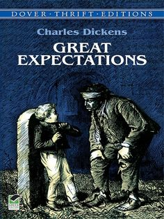 Great Expectations by Charles Dickens  In what may be Dickens's best novel, humble, orphaned Pip is apprenticed to the dirty work of the forge but dares to dream of becoming a gentleman — and one day, under sudden and enigmatic circumstances, he finds himself in possession of 'great expectations.' In this gripping tale of crime and guilt, revenge and reward, the compelling characters include Magwitch, the fearful and fearsome convict;... #doverthrift #classiclit #dickens ...