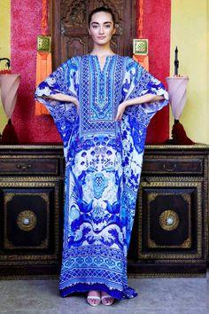 Blue and White Chinese Kaftan Dress - Designer Women's Clothing - Shahida Parides®
