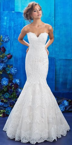 @AllureBridals - Strapless lace gown from Allure Couture SPRING 2017 COLLECTION. Dress style 9407. Crosshatched panels, symmetrical appliques and eyelash trim are unique additions to a strapless lace gown. MORE DETAILS: http://wedfrwd.co/2mAGVUN #weddingdress #ad