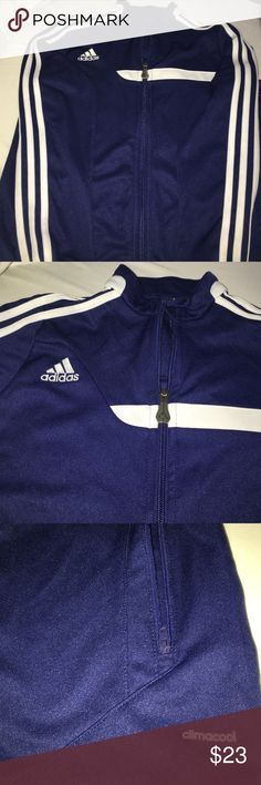 Boys Adidas Jacket sz8/10 navy blue white stripes Almost new boys Adidas jacket. No stains rips or holes. Zippers work in perfect condition. Used once. I took the tag and it is sz 8/10. Please ask all the necessary questions before purchasing to make sure and clear this is what you want. All my clothes are clean and very good condition unless I specified. Thank you for visiting. Don't forget to follow share and like Adidas Jackets & Coats Blazers