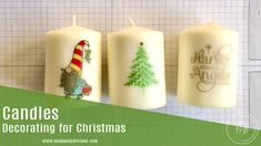 Christmas candles - decorate your own - video tutorial - Stampin' Up! - Fiona Bradley Christmas Candles, Christmas Gifts, Christmas Decorations, Holiday, Paper Gifts, 3d Paper, Paper Pumpkin, Craft Fairs, Pillar Candles