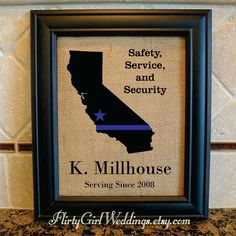 Police Officer Gift - Thin Blue Line - Star where based - Any State - State Police, Sheriff, Deputy, State Trooper - Police Motto (serv102) by FlirtyGirlWeddings on Etsy https://www.etsy.com/listing/227903986/police-officer-gift-thin-blue-line-star