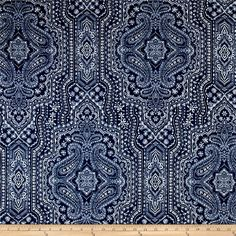 P.Kaufmann Vintage Find Indigo from @fabricdotcom  Screen printed on cotton duck, this versatile medium weight fabric is perfect for window accents (draperies, valances, curtains and swags), accent pillows, duvet covers, upholstery and other home decor accents. Create handbags, tote bags, aprons and more. Colors include indigo blue and white.