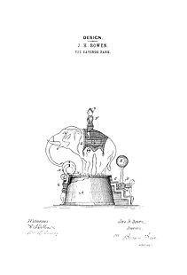 USA Patent Elephant Bank 1880's Drawings