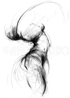 Its a bit abstract but i like it  - charcoal girl nude figure drawing, No. 5