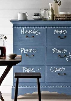 how awesome is this? cabinet painted in chalkboard paint, label the contents of the drawers.