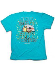 48b096380 Cherished Girl Jesus Makes me a Happy Camper Christian Girlie Bright T Shirt
