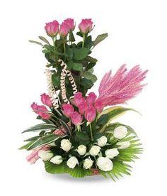 IGB Beautiful 30 White & Pink Roses Arranged In Basket