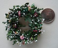 Dainty Dollhouse Wreath with Pink Flowers by 4hala on Etsy