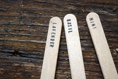 Stamped wood herb markers