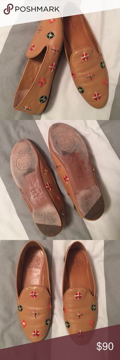 Tory Burch nude loafers w/ colorful studded accent Absolutely gorgeous, buttery soft nude colored leather slip on loafers / flats with colorful stud accent. These shoes are great, I just don't wear them enough so they need a new home. These run a little small, I'm a size 9 usually. No signs of wear on upper, a little wear on sole - I've worn them approx. 3 times. Tory Burch Shoes Flats & Loafers