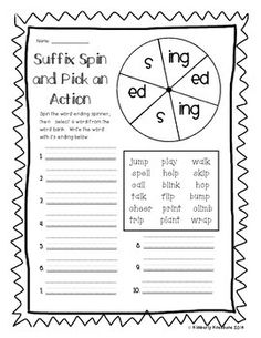 I made this activity pack to correlate with the Level 2 - Unit 3 Fundations...it also of course can be used as a Language Arts activity and/or for Word Work.  I needed my kiddos to practice with the suffixes of plurals in terms of nouns and verbs.  So I created a basic intro worksheet that shows the kiddos when to use -s or -es.