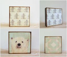 Nursery Art Block Trio L Polar Bear Set 3 Blocks 5x5 Wood Geometric