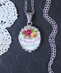 Necklace Broken China Jewelry Broken China by Robinsnestcreation1