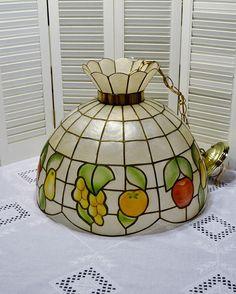 Vintage Capiz Shell Chandelier  Hanging Light Fruit Design