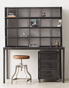 Industrial-style desk and hutch