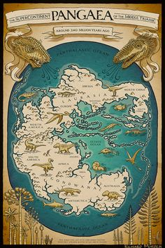 Pangaea map, by Richard Morden. The map of Pangaea, featuring the ancient continents of Gondwana and Laurasia, is available as poster art Vintage Maps, Antique Maps, Ancient Aliens, Ancient History, Ancient Map, European History, Ancient Artifacts, Ancient Greece, Ancient Egypt